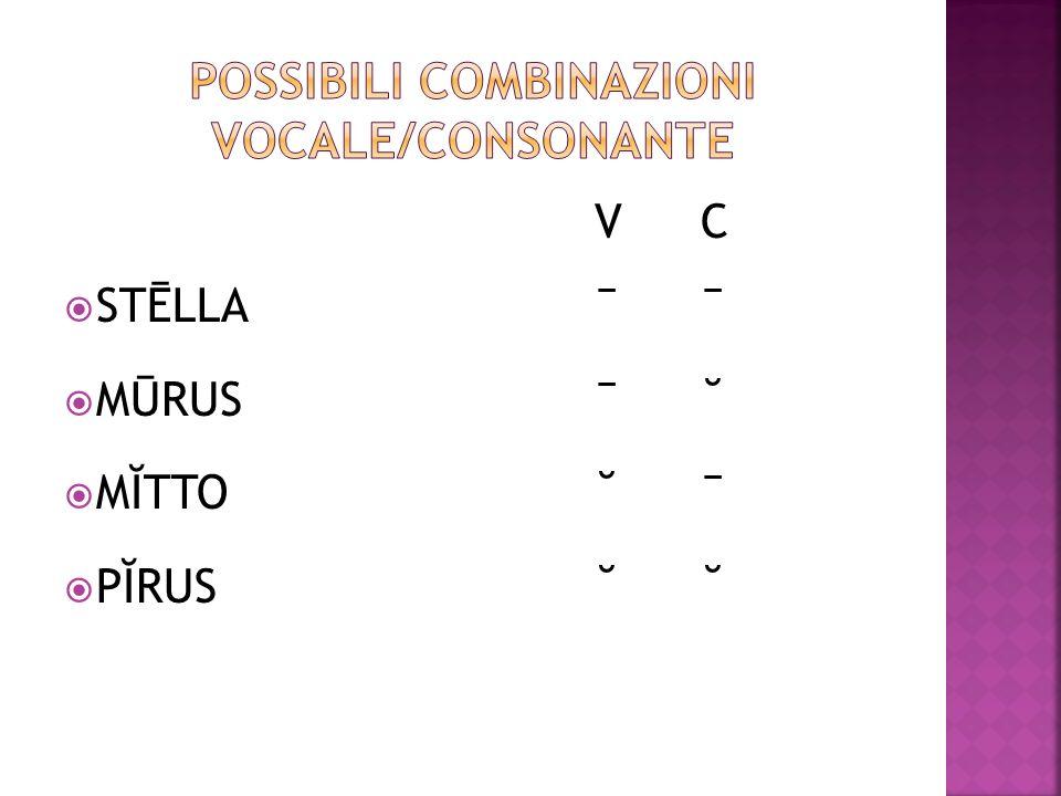 Possibili combinazioni vocale/consonante