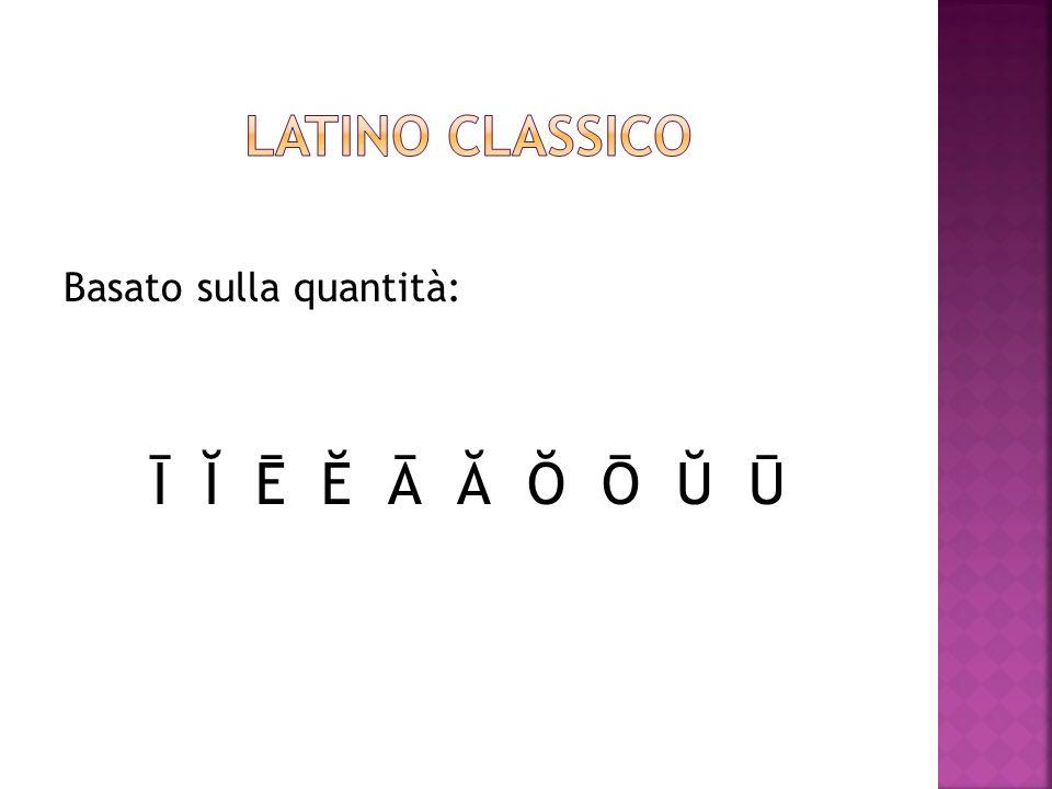 Latino classico Basato sulla quantità: Ī Ĭ Ē Ĕ Ā Ă Ŏ Ō Ŭ Ū