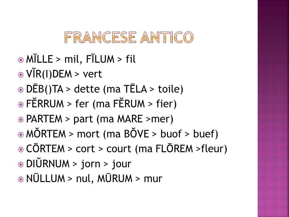 FRANCESE ANTICO MĪLLE > mil, FĪLUM > fil VĬR(I)DEM > vert