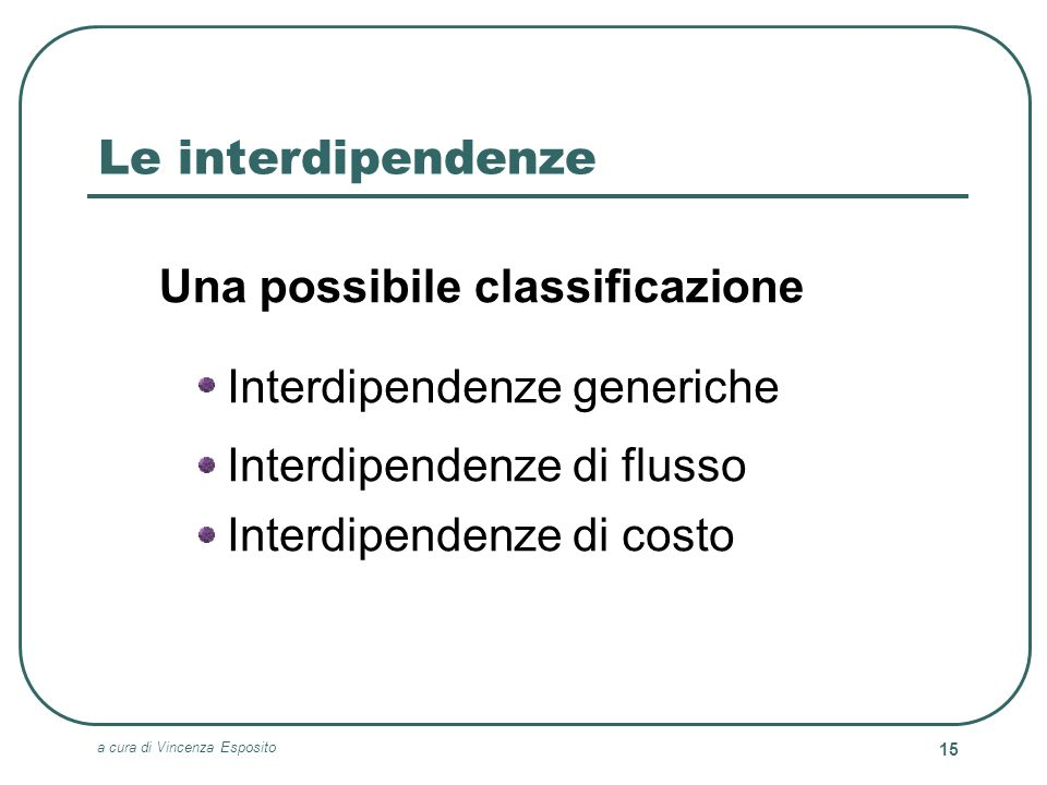 Le interdipendenze Una possibile classificazione