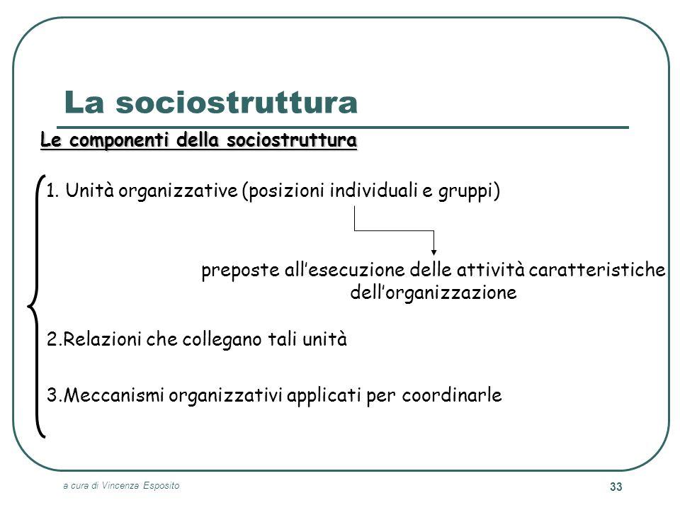 La sociostruttura Le componenti della sociostruttura