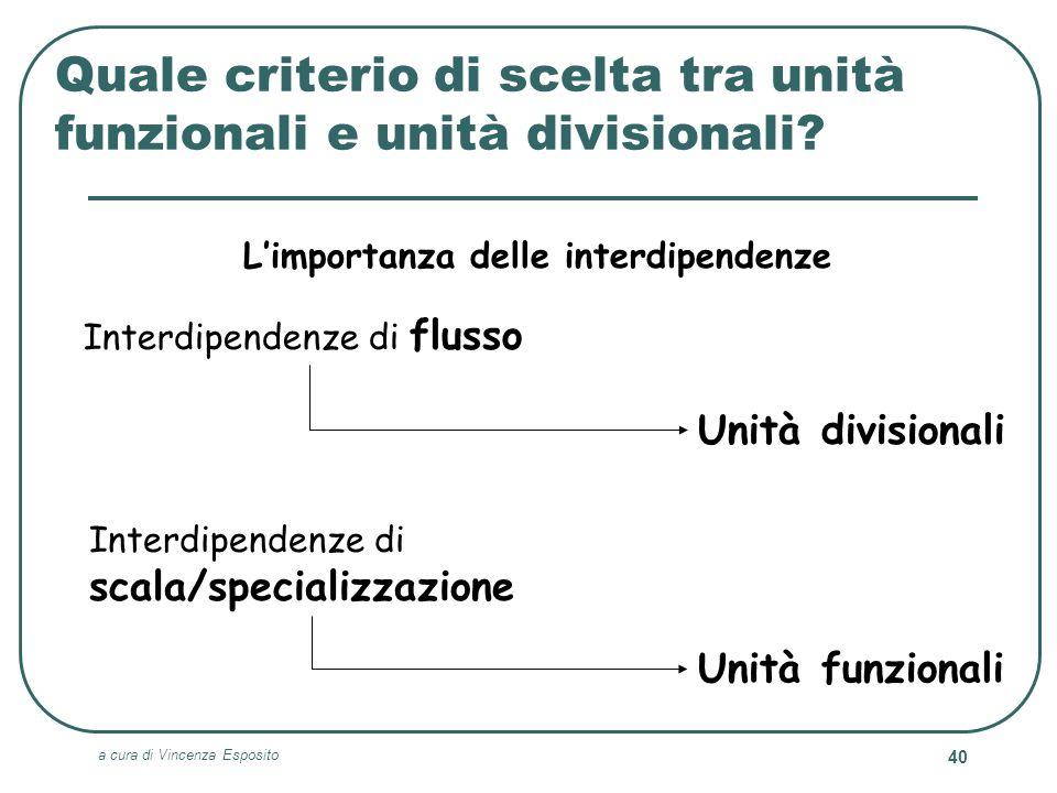 Quale criterio di scelta tra unità funzionali e unità divisionali
