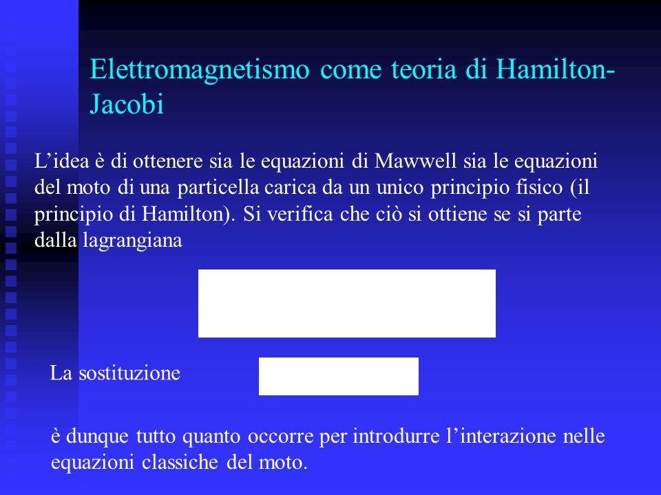 Elettromagnetismo come teoria di Hamilton-Jacobi
