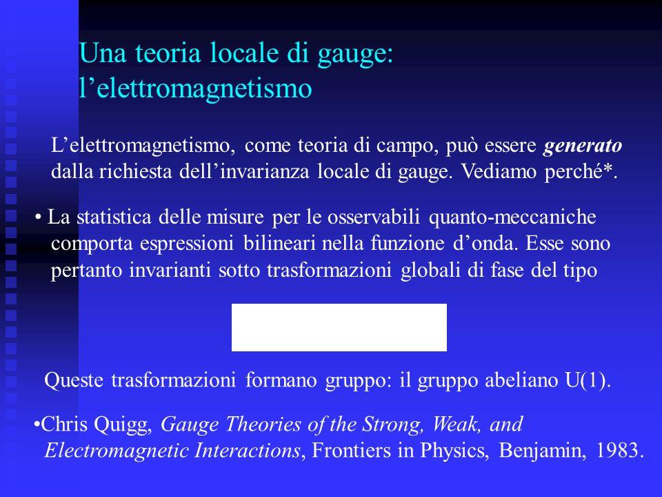 Una teoria locale di gauge: l'elettromagnetismo