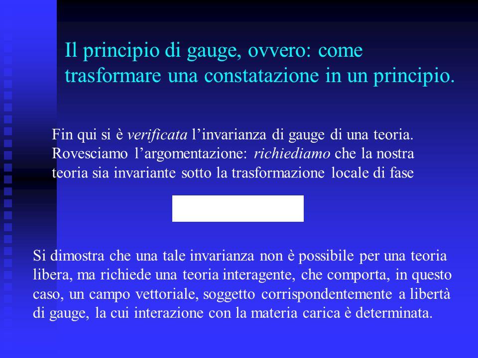 Il principio di gauge, ovvero: come trasformare una constatazione in un principio.