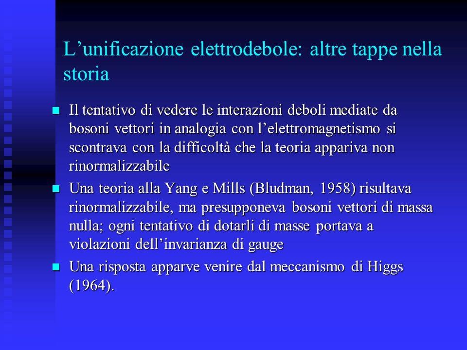 L'unificazione elettrodebole: altre tappe nella storia