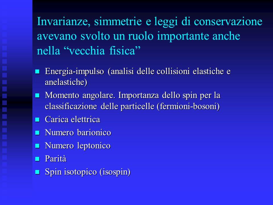 Invarianze, simmetrie e leggi di conservazione avevano svolto un ruolo importante anche nella vecchia fisica