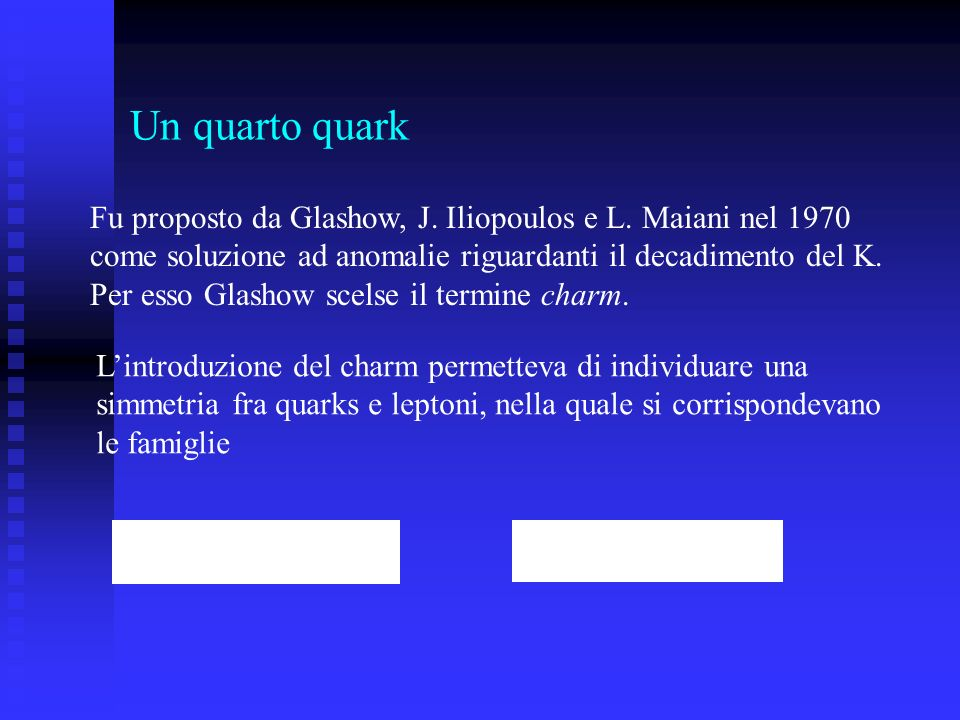 Un quarto quarkFu proposto da Glashow, J. Iliopoulos e L. Maiani nel 1970. come soluzione ad anomalie riguardanti il decadimento del K.