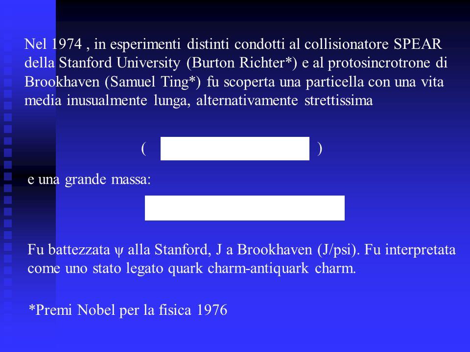 Nel 1974 , in esperimenti distinti condotti al collisionatore SPEAR