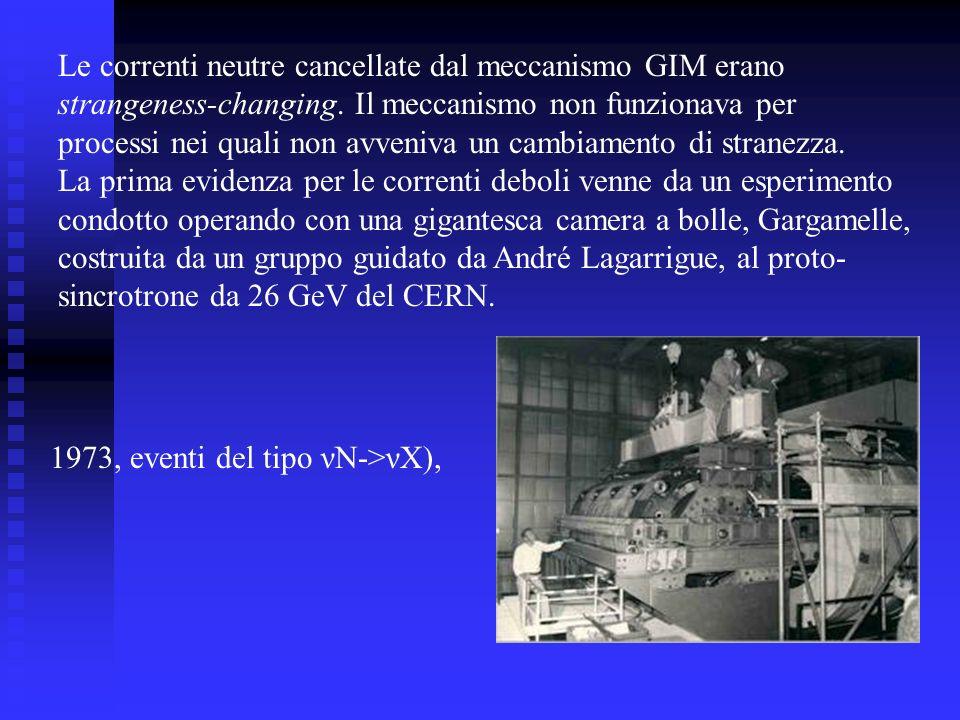Le correnti neutre cancellate dal meccanismo GIM erano