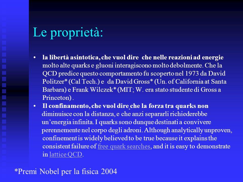 Le proprietà: *Premi Nobel per la fisica 2004