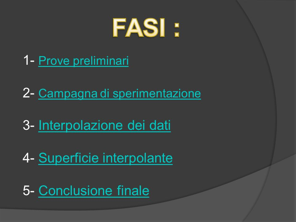 FASI : 1- Prove preliminari 2- Campagna di sperimentazione 3- Interpolazione dei dati 4- Superficie interpolante 5- Conclusione finale