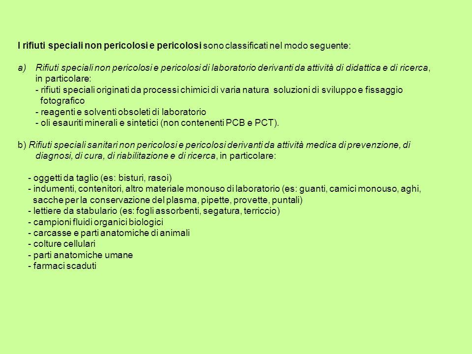 I rifiuti speciali non pericolosi e pericolosi sono classificati nel modo seguente: