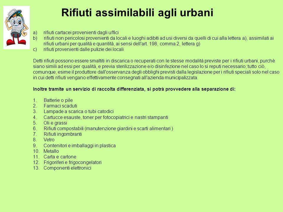Rifiuti assimilabili agli urbani