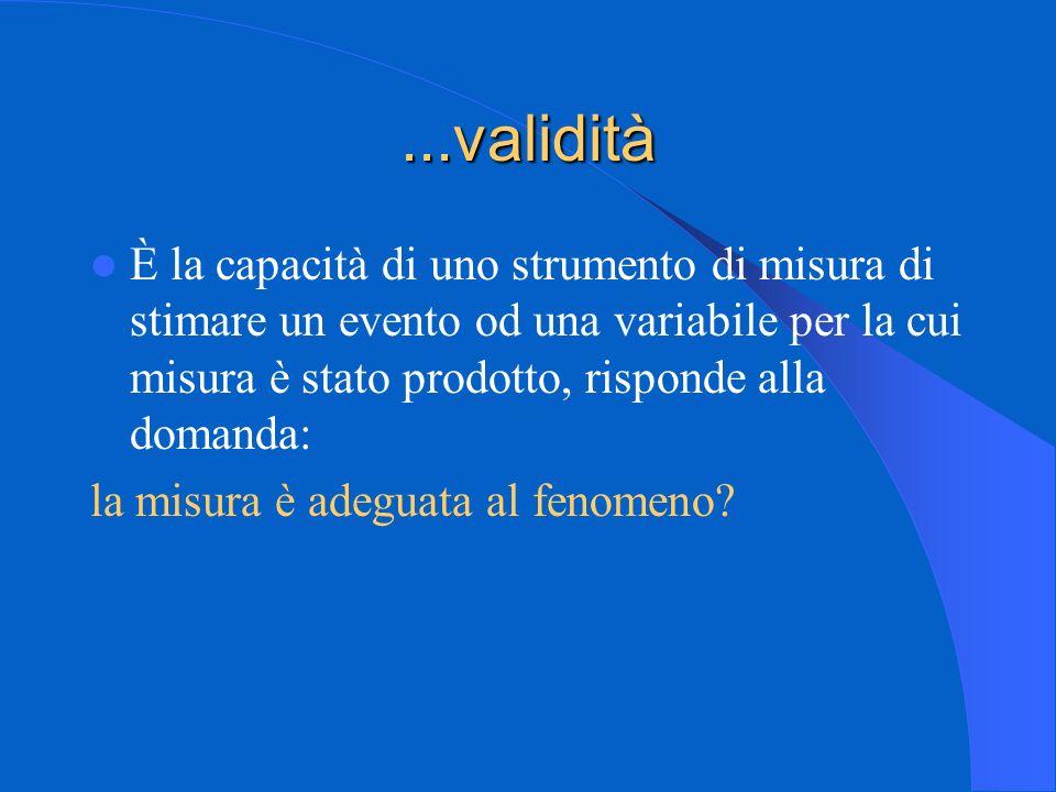 ...validità È la capacità di uno strumento di misura di stimare un evento od una variabile per la cui misura è stato prodotto, risponde alla domanda: