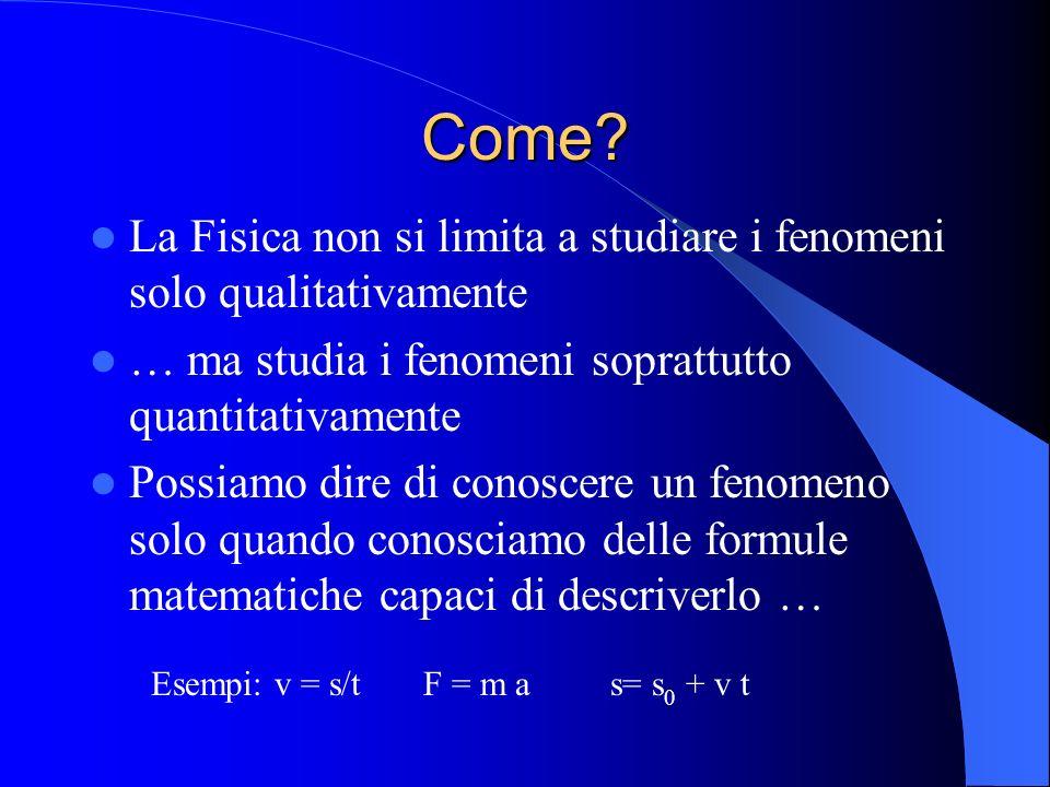 Come La Fisica non si limita a studiare i fenomeni solo qualitativamente. … ma studia i fenomeni soprattutto quantitativamente.