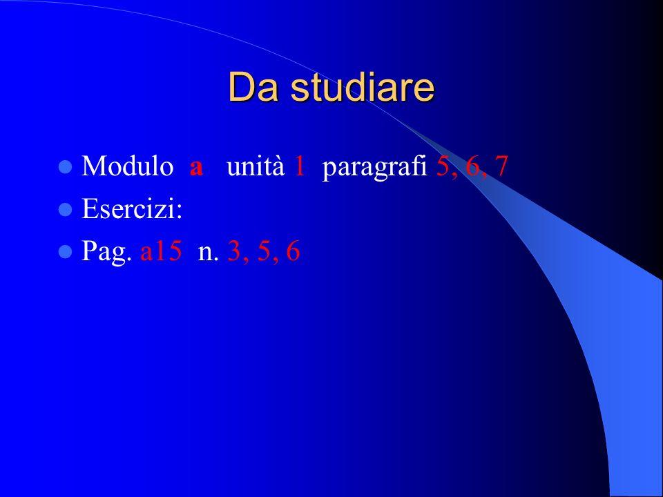 Da studiare Modulo a unità 1 paragrafi 5, 6, 7 Esercizi:
