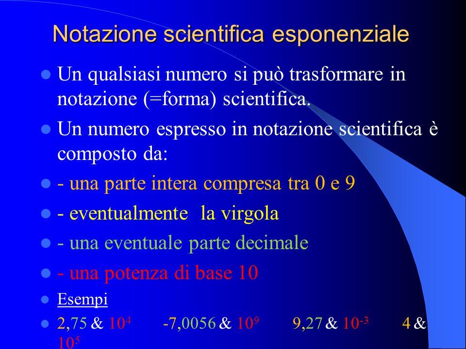 Notazione scientifica esponenziale