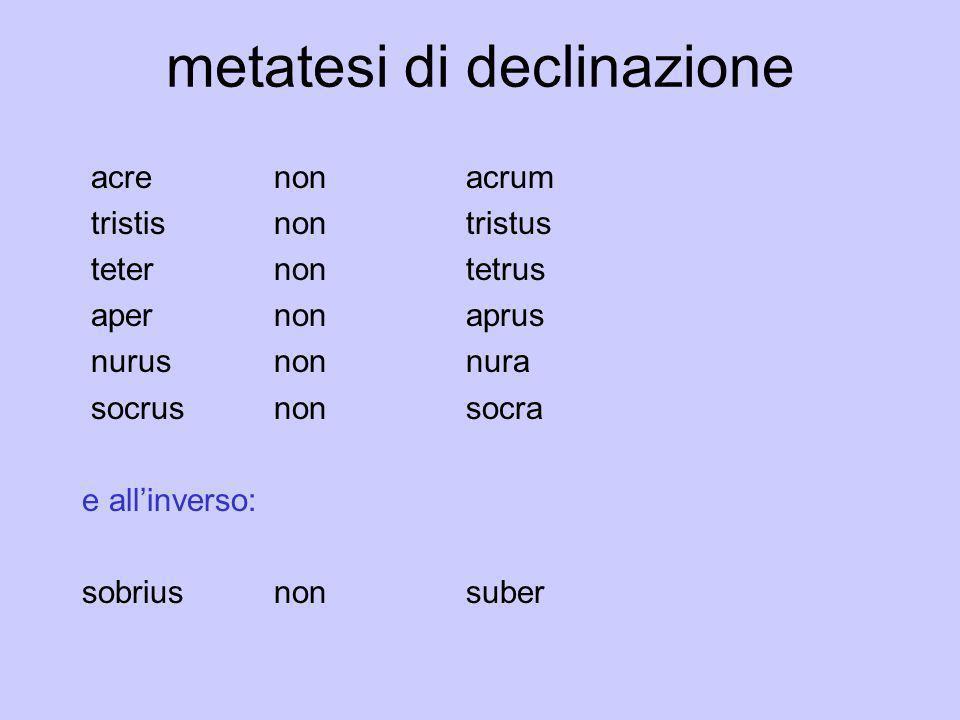 metatesi di declinazione