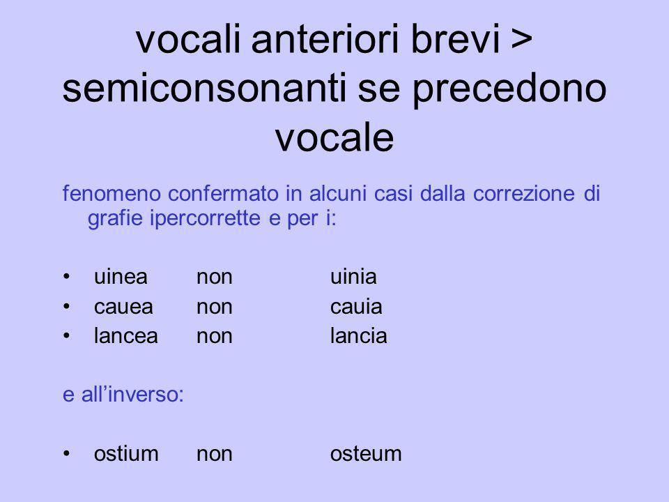 vocali anteriori brevi > semiconsonanti se precedono vocale