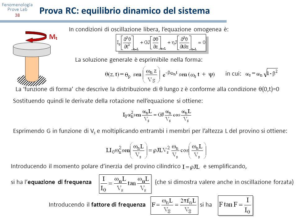 Prova RC: equilibrio dinamico del sistema