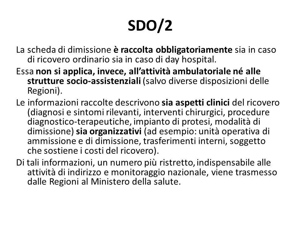 SDO/2La scheda di dimissione è raccolta obbligatoriamente sia in caso di ricovero ordinario sia in caso di day hospital.