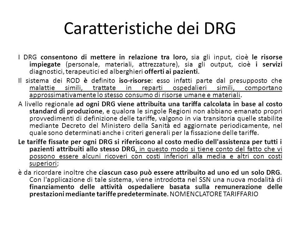 Caratteristiche dei DRG