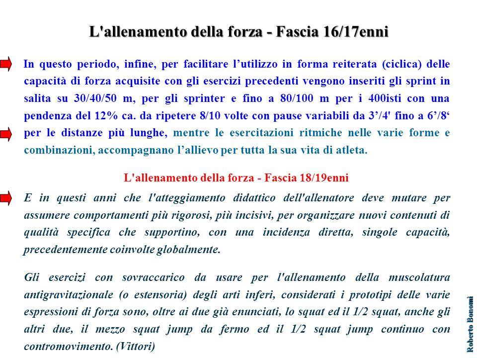 L allenamento della forza - Fascia 16/17enni