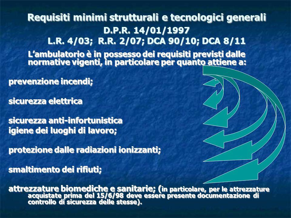 Requisiti minimi strutturali e tecnologici generali D. P. R