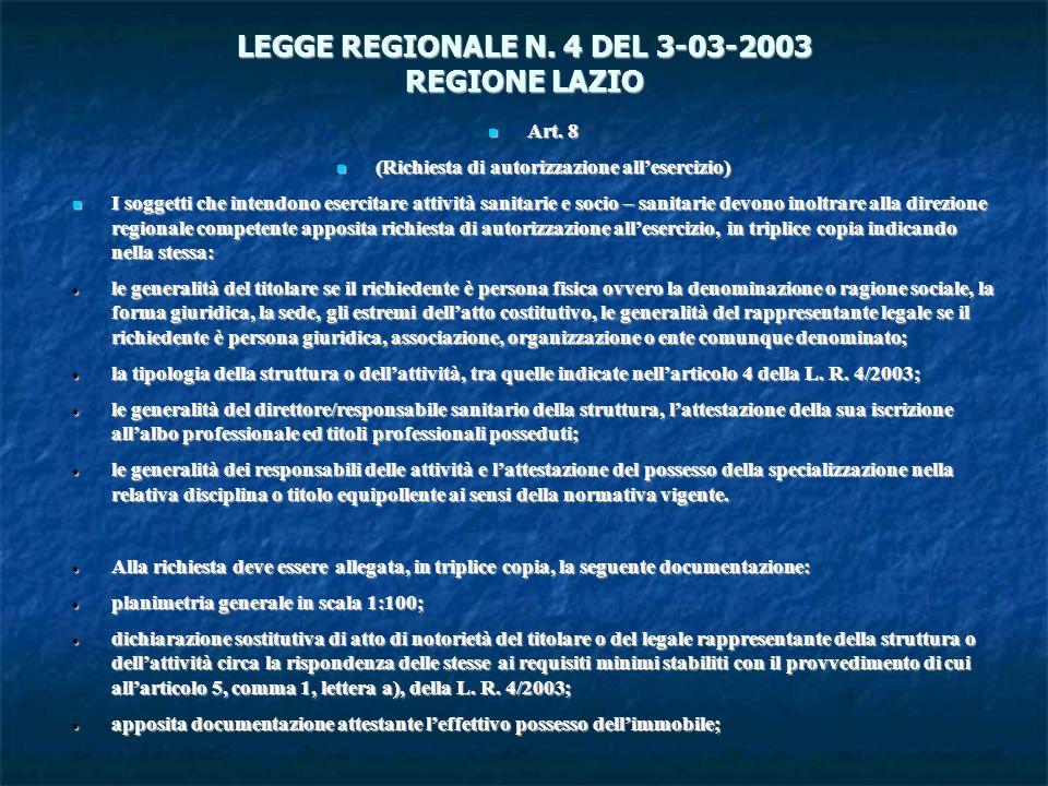 LEGGE REGIONALE N. 4 DEL 3-03-2003 REGIONE LAZIO