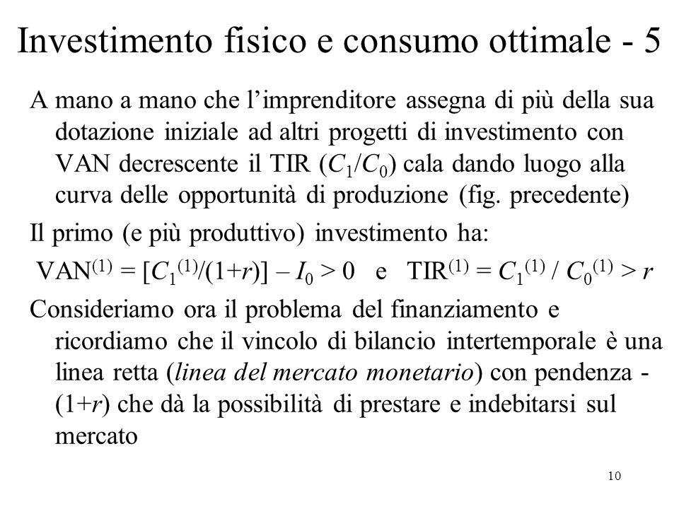 Investimento fisico e consumo ottimale - 5