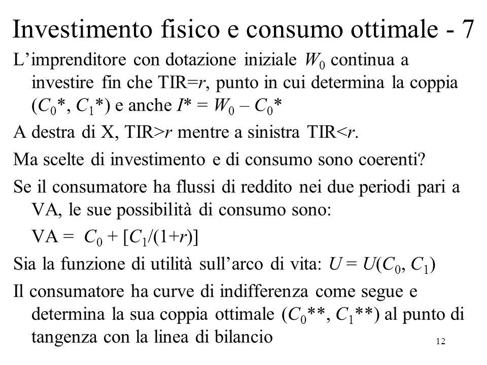 Investimento fisico e consumo ottimale - 7