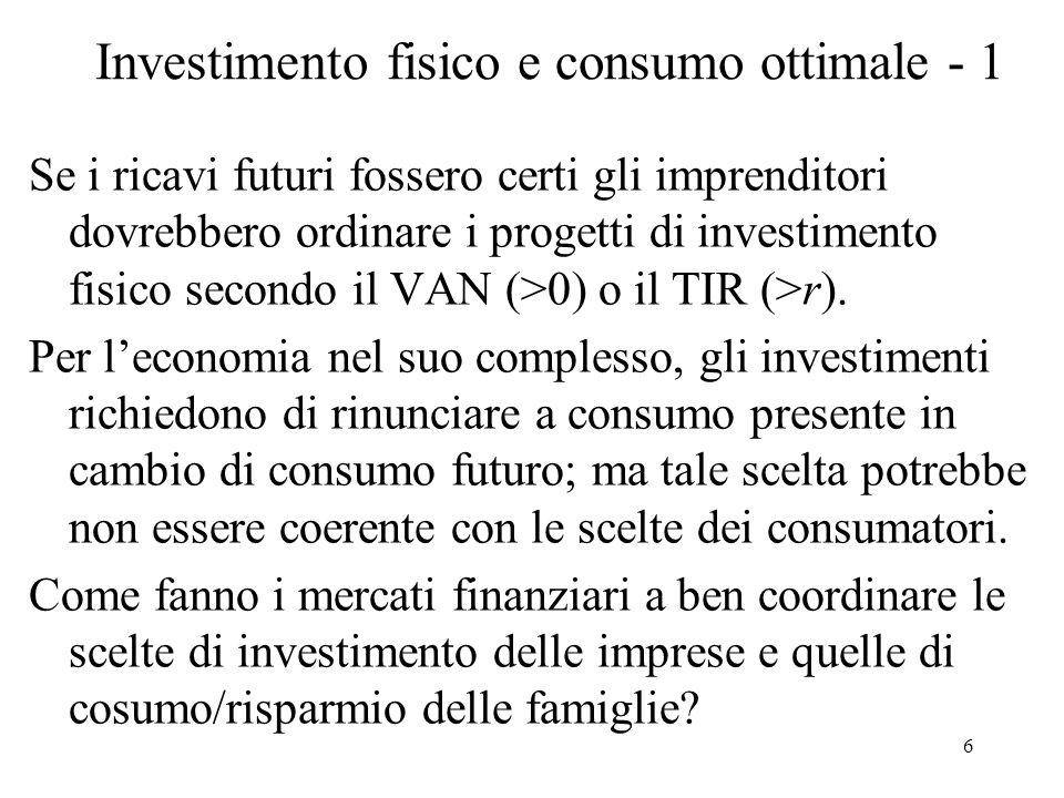 Investimento fisico e consumo ottimale - 1