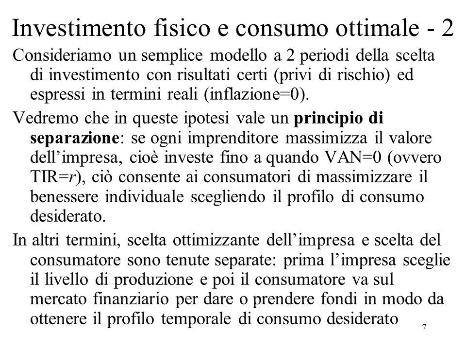 Investimento fisico e consumo ottimale - 2