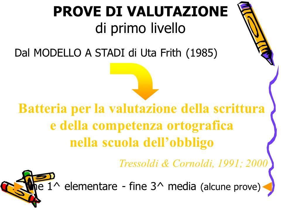 PROVE DI VALUTAZIONE di primo livello