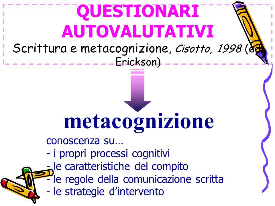 QUESTIONARI AUTOVALUTATIVI Scrittura e metacognizione, Cisotto, 1998 (ed. Erickson)