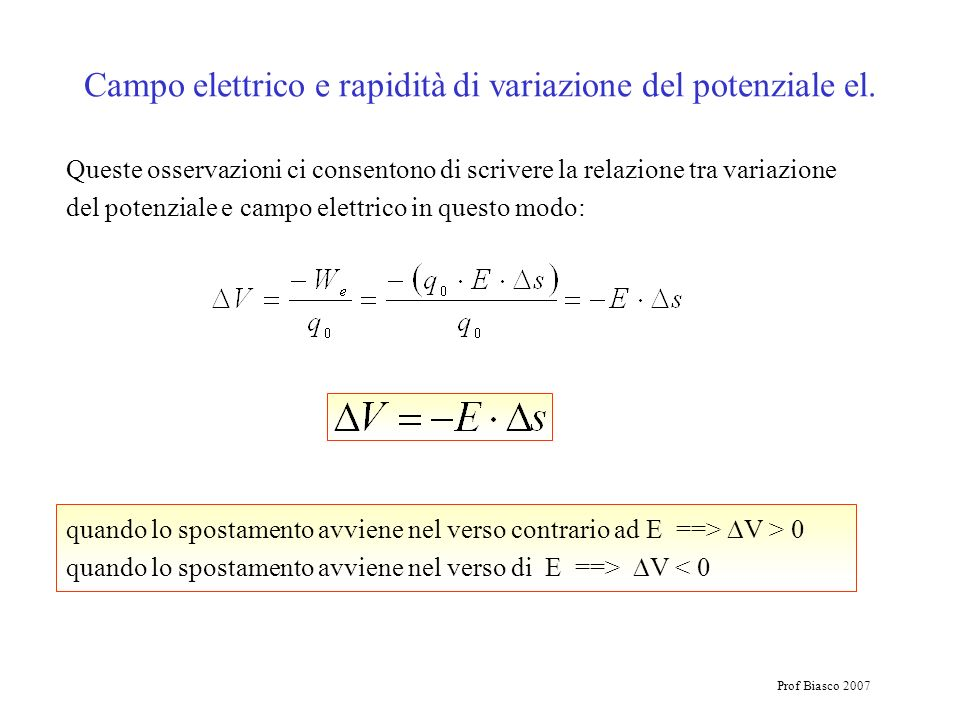 Campo elettrico e rapidità di variazione del potenziale el.