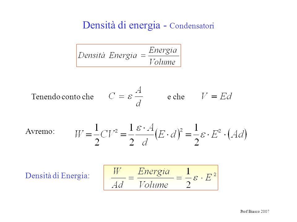 Densità di energia - Condensatori