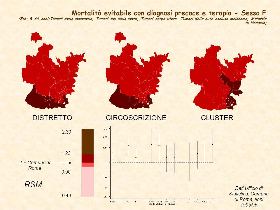 Dati Ufficio di Statistica, Comune di Roma, anni 1995/96
