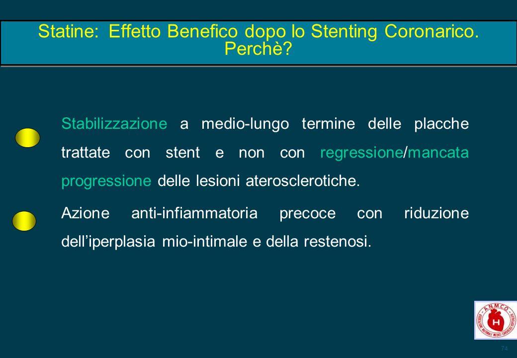 Statine: Effetto Benefico dopo lo Stenting Coronarico. Perchè