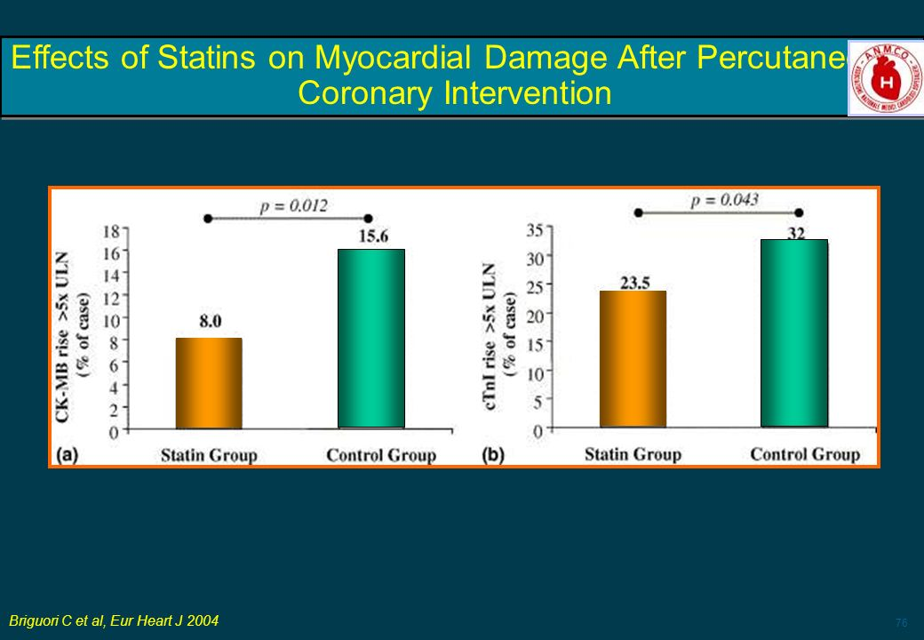 Effects of Statins on Myocardial Damage After Percutaneous Coronary Intervention