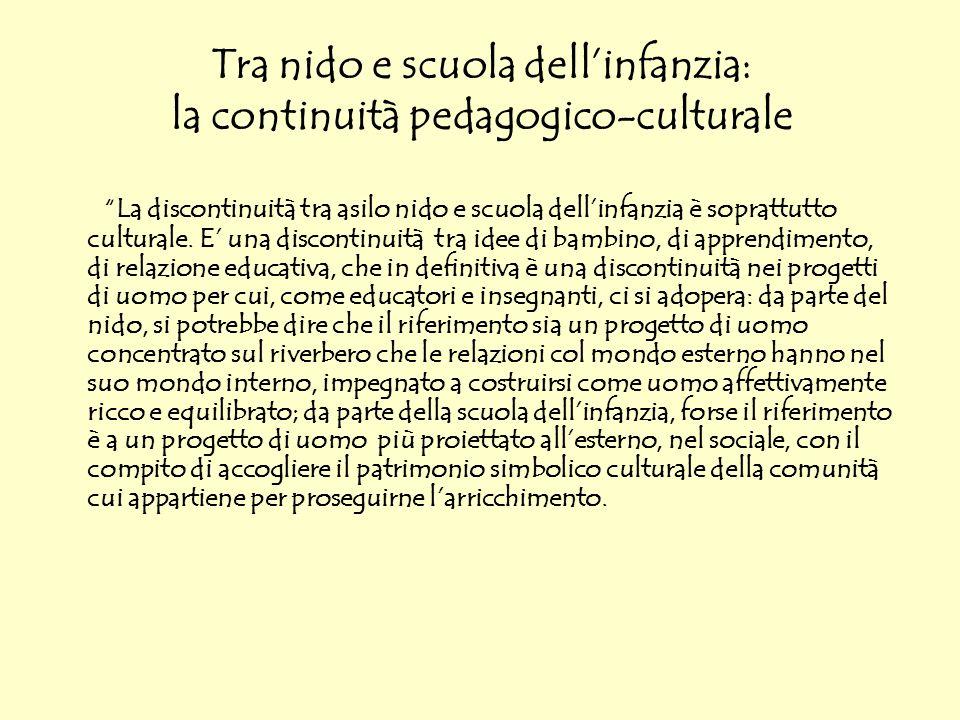 Tra nido e scuola dell'infanzia: la continuità pedagogico-culturale