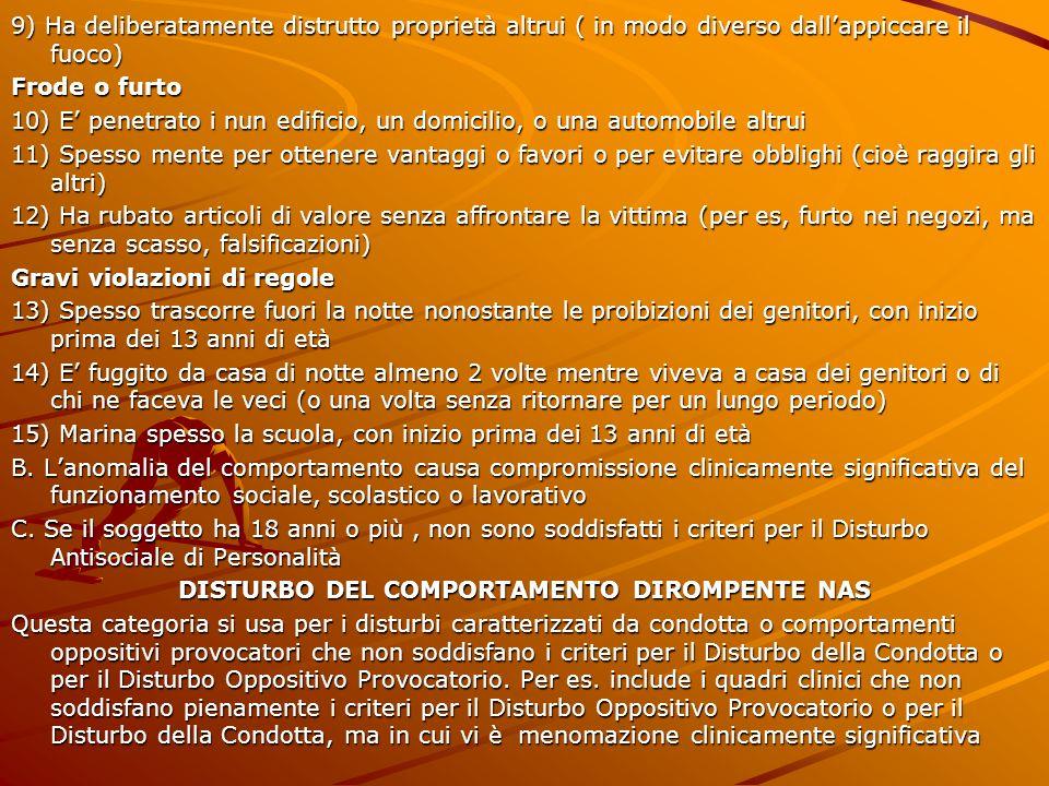 DISTURBO DEL COMPORTAMENTO DIROMPENTE NAS