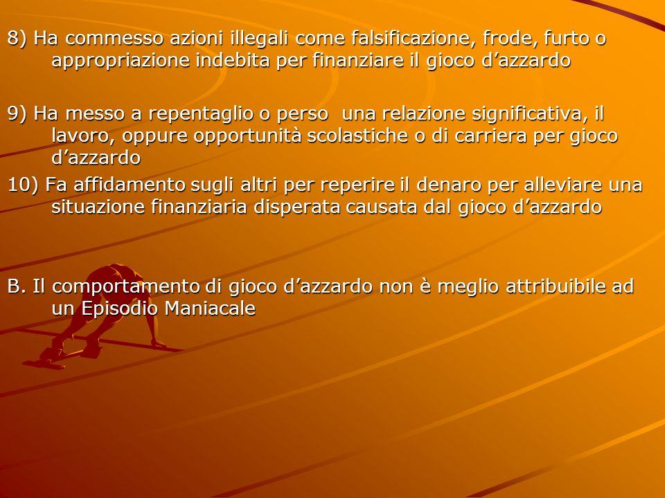 8) Ha commesso azioni illegali come falsificazione, frode, furto o appropriazione indebita per finanziare il gioco d'azzardo