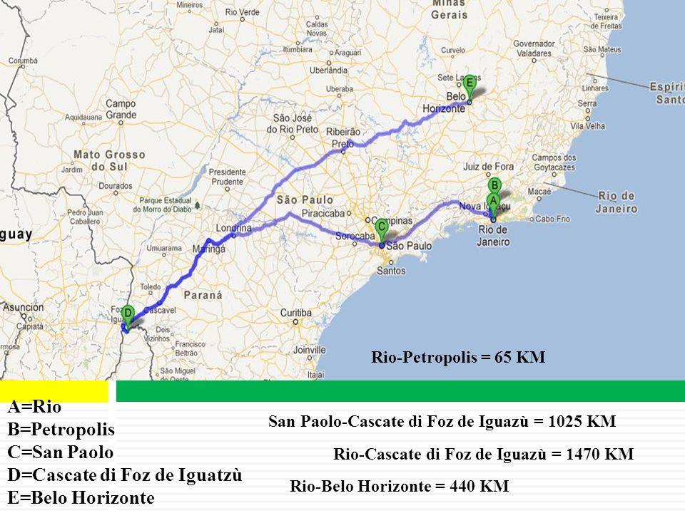D=Cascate di Foz de Iguatzù E=Belo Horizonte