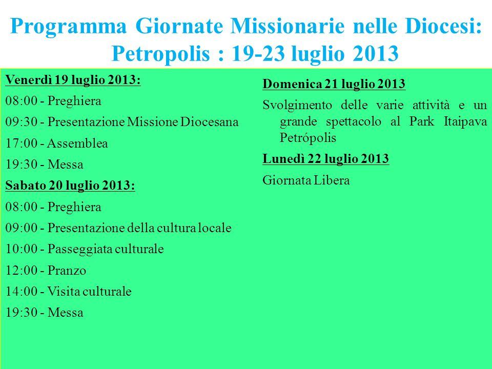 Programma Giornate Missionarie nelle Diocesi:
