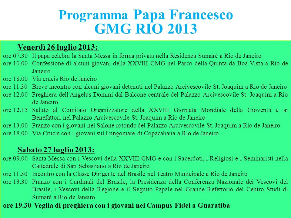 Programma Papa Francesco