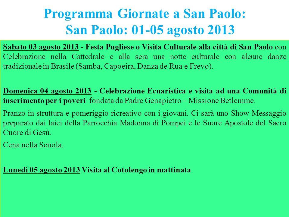 Programma Giornate a San Paolo: