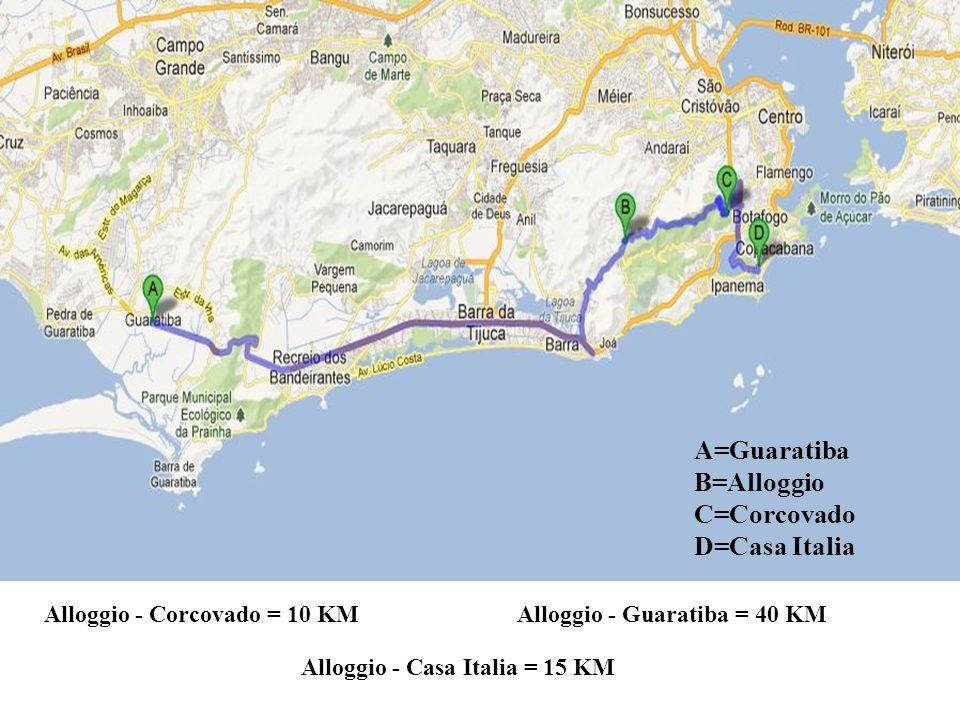 A=Guaratiba B=Alloggio C=Corcovado D=Casa Italia