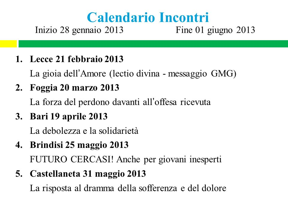 Calendario Incontri Lecce 21 febbraio 2013